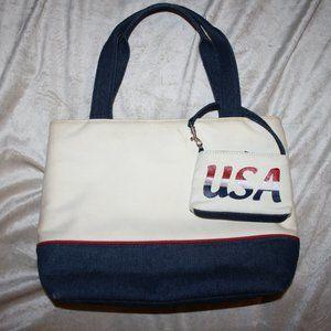Cream and Denim USA purse with coin purse